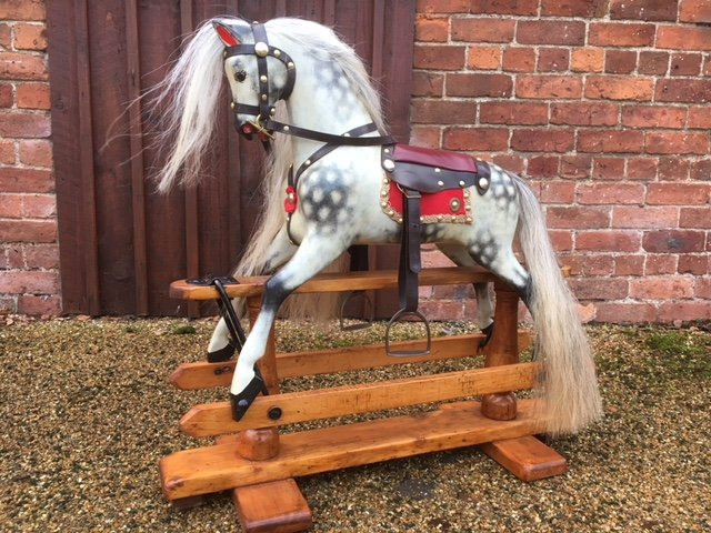 antique wooden ayres rocking horse