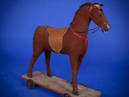 German plush pull along toy horse