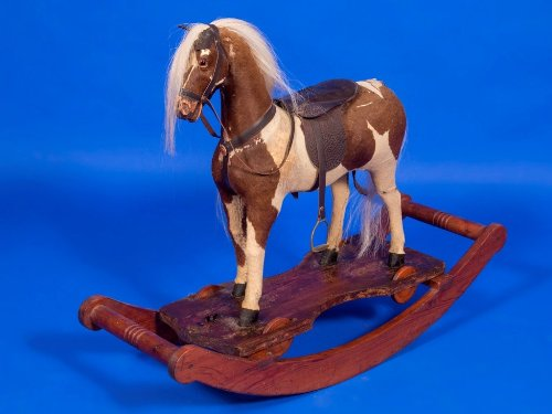 german hide covered bow rocking horse