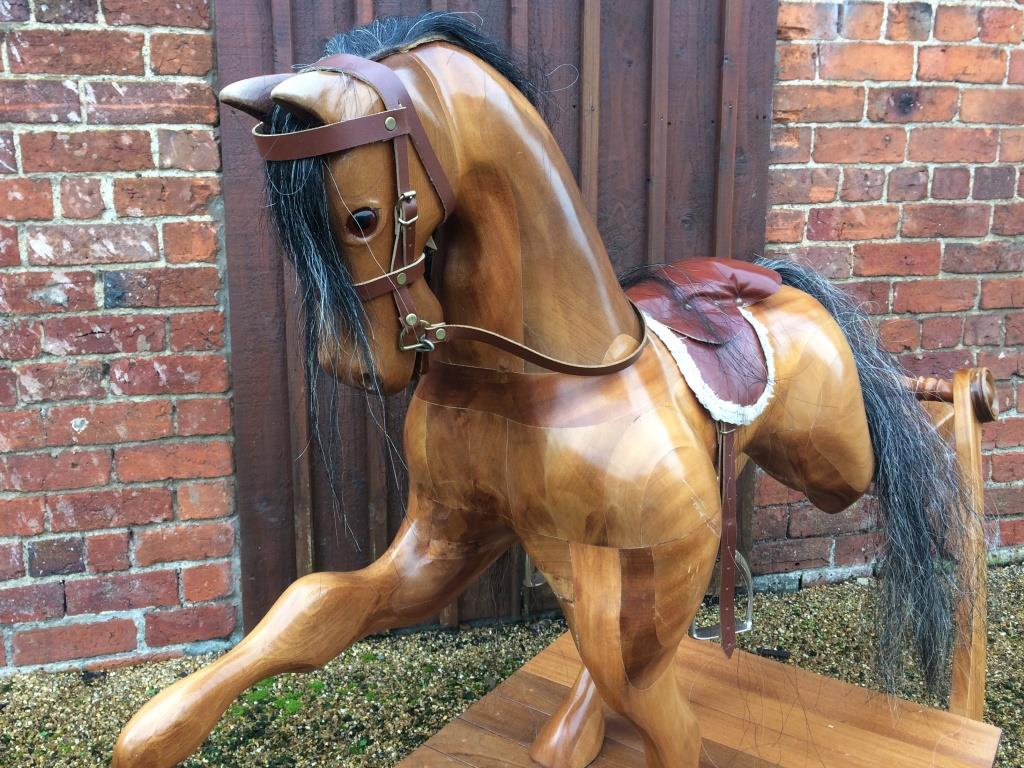 wooden bow rocking horse for sale